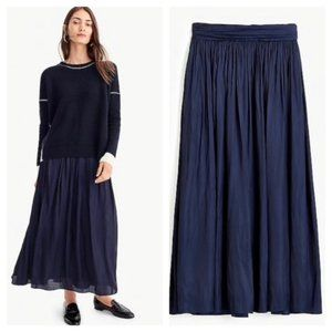 J. Crew Point Sur Navy Blue Crinkle Satin Maxi Skirt w/Pockets Modest Size 12
